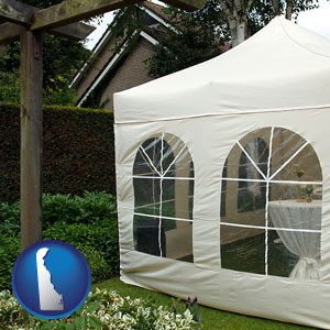 a garden party tent - with Delaware icon